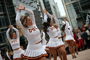 Cheerleaders of the University Of Southern California Trojan Band perform