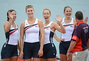 Adrienne Martelli, Megan Kalmoe, Kara Kohler and Natalie Dell of the United States celebrate after winning bronze in the Women's Quadruple Sculls on Day 5 of the London 2012 Olympic Games