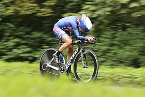 Kristin Armstrong of the United States competes during the Women's Individual Time Trial