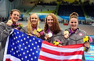(L-R) Allison Schmitt, Dana Vollmer, Shannon Vreeland and Missy Franklin of the United States pose with their medals following the medal ceremony for the Women's 4x200m Freestyle Relay