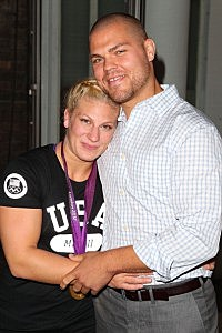 Kayla Harrison and fiance Aaron Handy visit the USA House at the Royal College of Art