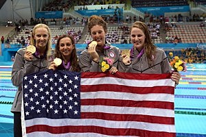 Gold medallists (L-R) Dana Volmer, Rebecca Soni, Allison Schmitt and Missy Franklin of the United States pose following the medal ceremony for the Women's 4x100m medley Relay Final