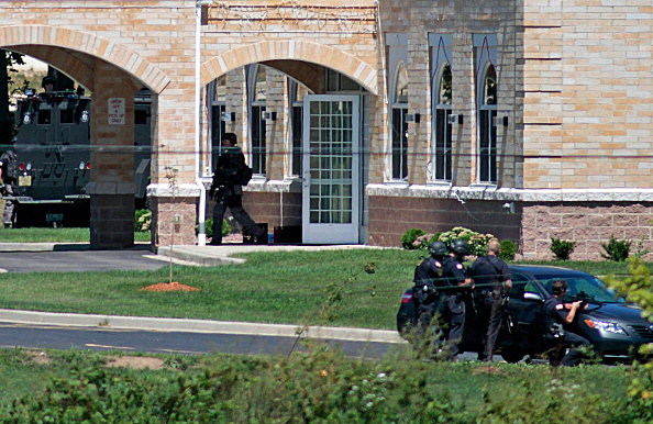 SWAT officers surround the Sikh Temple of Wisconsin