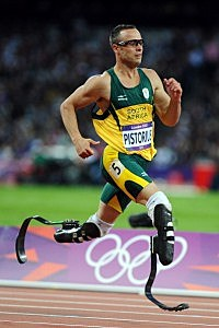Oscar Pistorius of South Africa competes in the Men's 400m semifinal