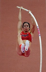 Jennifer Suhr of the United States competes in the Women's Pole Vault final
