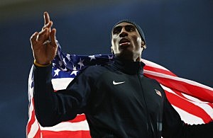 Erik Kynard of the United States celebrates after winning the Silver medal in the Men's High Jump Final