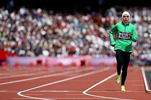 Sarah Attar of Saudi Arabia competes in the Women's 800m Round 1 Heats