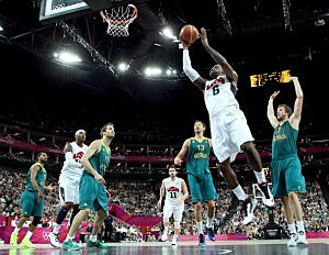 LeBron James goes up for a shot