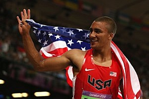 Ashton Eaton celebrates winning gold in the Men's Decathlon