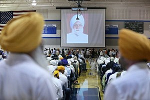 Family and friends and community members gather at Oak Creek High School to mourn the loss of 6 members of the Sikh Temple of Wisconsin (Scott Olson/Getty Images)