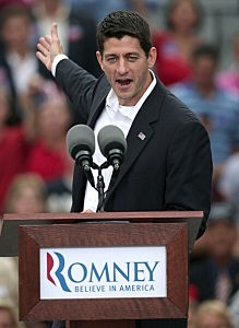 U.S. Rep. Paul Ryan (R-WI) speaks after being announced by Republican presidential candidate, former Massachusetts Gov. Mitt Romney as his running mate in front of the USS Wisconsin August 11, 2012 in Norfolk, Virginia.