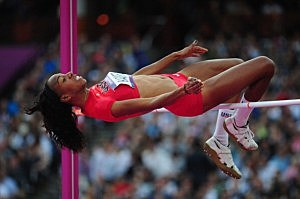 Brigetta Barrett of the United States celebrates after an attempt during the Women's High Jump Final