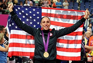 Diana Taurasi #12 of United States celebrates after defeating France 86-50 to win the gold medal in the Women's Basketball gold medal game