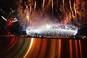A general view of the stadium and Olympic park during the Closing Ceremony