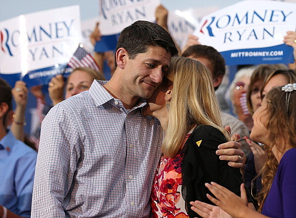 Republican vice presidential candidate Rep. Paul Ryan (R-WI) (L) hugs his wife Janna during a homecoming campaign rally at the Waukesha County Expo Center on August 12, 2012 in Waukesha, Wisconsin