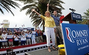 Republican Vice Presidential candidate, U.S. Rep. Paul Ryan (R-WI) (R) and his mother Elizabeth Ryan wave during the Victory Rally in Florida at Town Square, Lake Sumter Landing