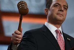 RNC Chairman Reince Priebus bangs the gavel to start the Republican National Convention at the Tampa Bay Times Forum
