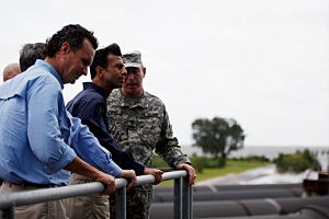 Louisiana Governor Bobby Jindal receives an update on the status of the pumping station at the 17th Street Canal in New Orleans