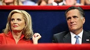 Ann & Mitt Romney listen to Governor Christie's keynote address