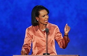 Former U.S. Secretary of State Condoleezza Rice speaks during the third day of the Republican National Convention