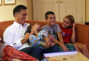 Mitt Romney with his grandchildren watching Paul Ryan accept the Vice President nomination