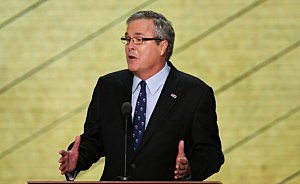 Jeb Bush speaks on stage during the final day of the Republican National Convention at the Tampa Bay Times Forum