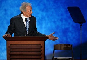 Clint Eastwood addresses President Obama's empty chair at the Republican National Convention