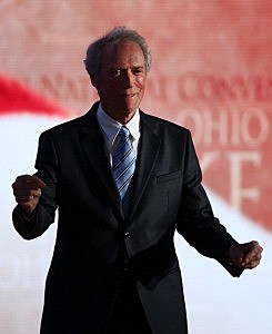 Clint Eastwood walks on stage at the Republican National Convention