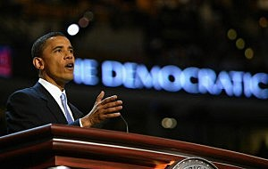 Barack Obama delivers a keynote address during the 2004 Democrat National Convention in at the Fleet Center in Boston.