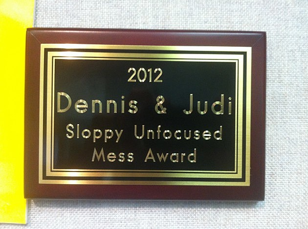 Dennis and Judi's latest award