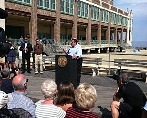 Governor Christie speaks on the Asbury Park boardwalk