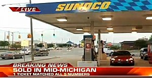 Sunoco station in Lampeer, Michigan where winning Powerball ticket was sold.