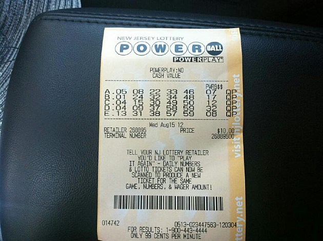 Powerball ticket for Wednesday