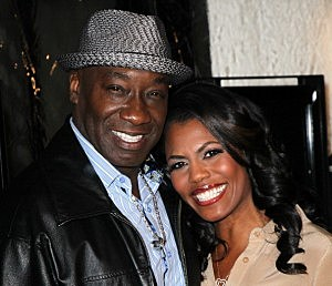 Michael Clarke Duncan (L) and fiancee Omarosa Manigault-Stallworth