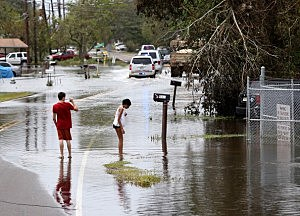 Flood damage in  Lafitte, Louisiana
