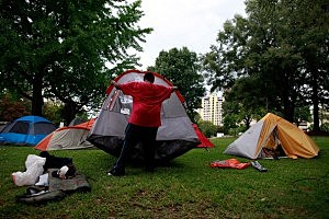 Occupy protesters set up camping tents in Charlotte, NC's Marshall Park