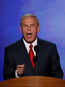 Former Ohio Gov. Ted Strickland speaks during day one of the Democratic National Convention