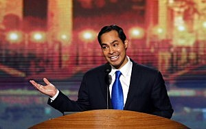 San Antonio Mayor Julian Castro gives the keynote address on stage during day one of the Democratic National Convention
