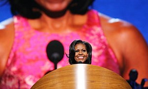 First lady Michelle Obama speaks on stage during day one of the Democratic National Convention