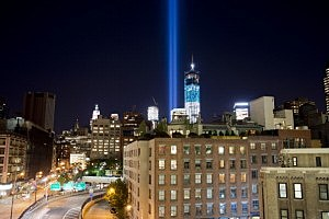 "New York City's ""Tribute In Light"" to the victims of the 9/11 attacks"