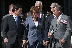 (L-R) House Majority Leader Eric Cantor (R-VA), House Minority Leader Nancy Pelosi (D-CA) and Speaker of the House John Boehner (R-OH) arrive at 9/11 ceremony at the US Capital