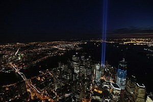 Tribute In Light on the eleventh anniversary of 9/11/01