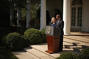 resident Barack Obama (R) makes a statement about the death of U.S. ambassador to Libya J. Christopher Stevens with Secretary of State Hillary Clinton