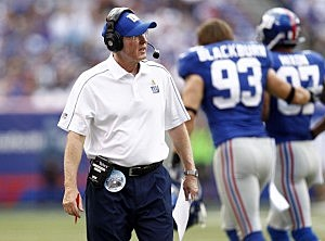 Tom Coughlin on the sidelines of Sunday's game with Tampa Bay