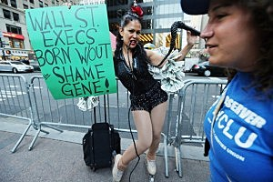 Protestor Marni Halasa, affiliated with Occupy Wall Street, poses in the Financial District