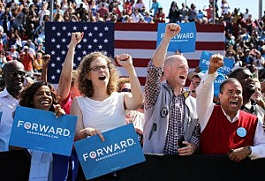 Obama supporters at a campaign event