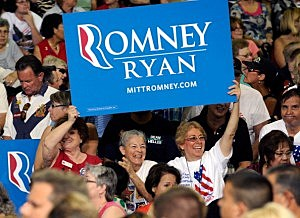 Mitt Romney supporters at a campaign event