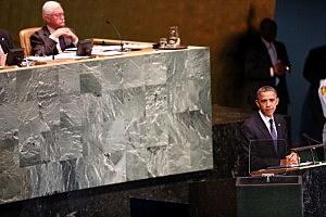President Barack Obama addresses world leaders at the United Nations General Assembly