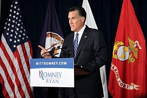 Mitt Romney speaks during a Veterans for Romney event at American Legion Post 176 in Springfield, Virginia.