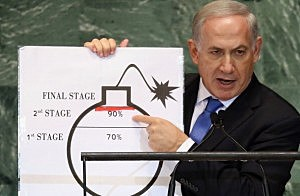 Benjamin Netanyahu, Prime Minister of Israel, points to a red line he drew on a graphic of a bomb while addressing the United Nations General Assembly